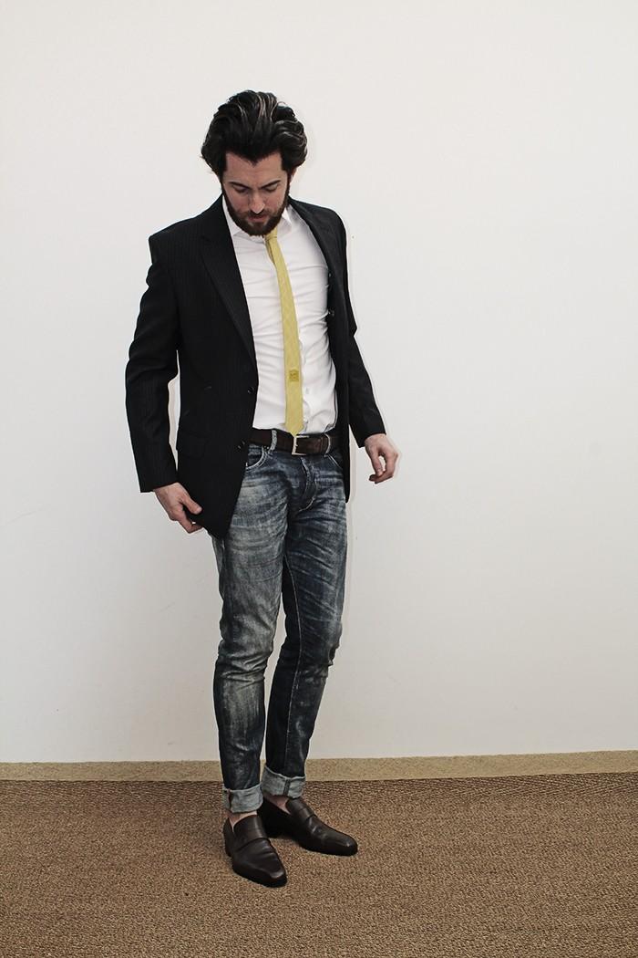 Tonanni Jeans Blazer Gravata Amarela