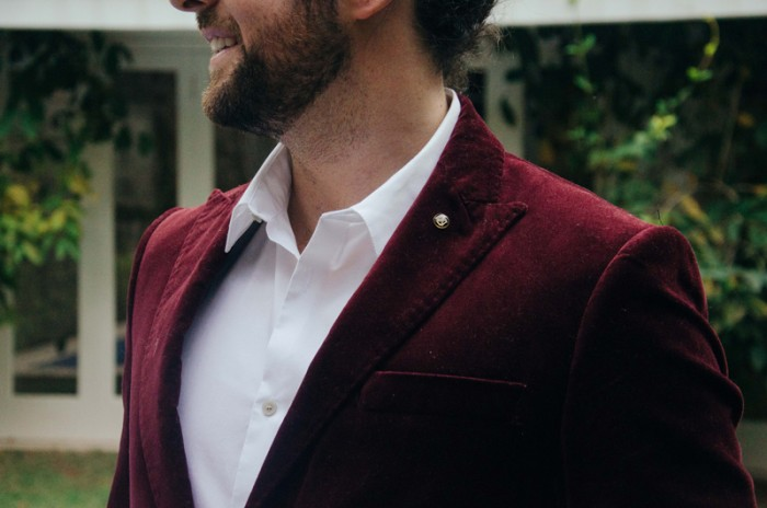 Blazer Veludo Vermelho Moda Masculina